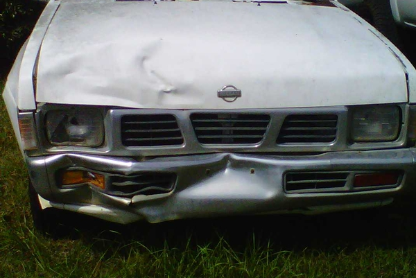 front bumper of white truck
